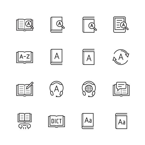 Dictionary, vocabulary book icon set in thin line style Dictionary, vocabulary book icon set in thin line style encyclopaedia stock illustrations