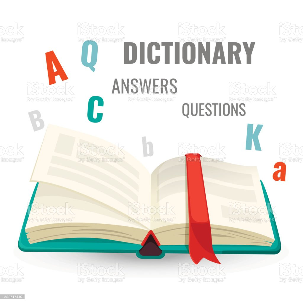 Dictionary with all answers to questions promo emblem vector art illustration