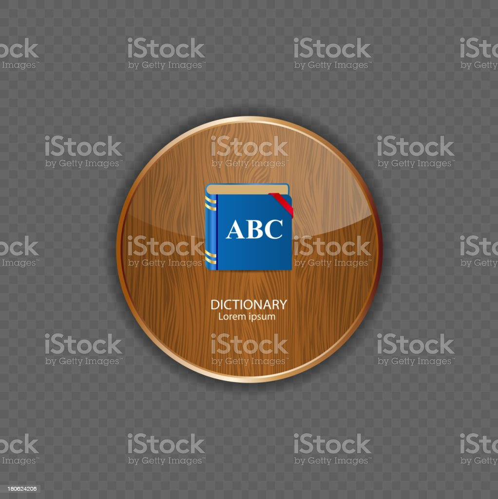 Dictionary wood application icons vector illustration royalty-free stock vector art