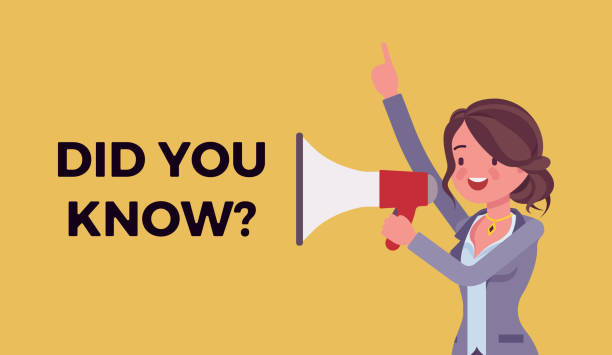 Did you know megaphone announcement Did you know megaphone announcement. Woman holding loud speaker explain interesting facts of commercial product, service promotion, new advertising information. Vector flat style cartoon illustration diad stock illustrations