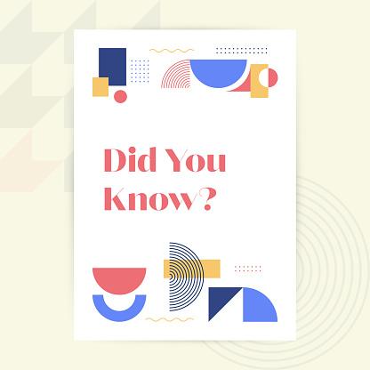 Did You Know? Modern Design Brochure, Poster, Flyer, Presentation Template Vector Illustration