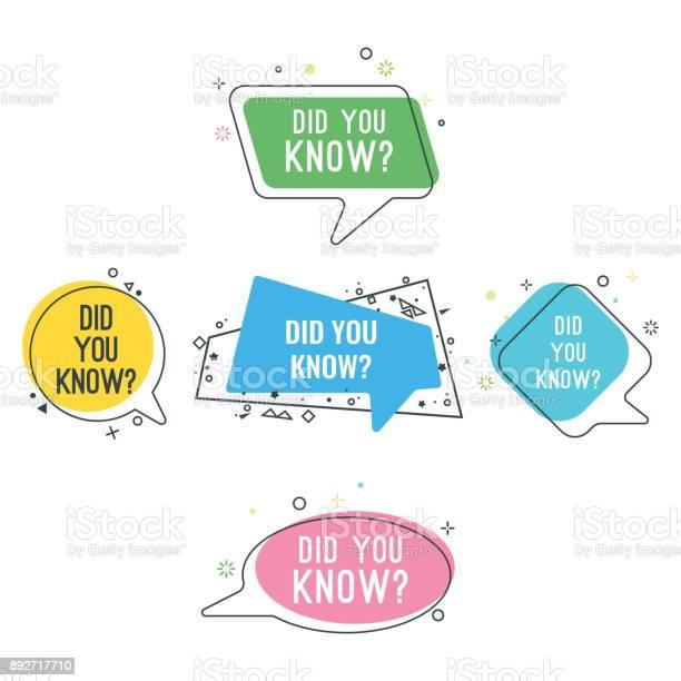 Did you know question on colorful stickers set vector id892717710?b=1&k=6&m=892717710&s=612x612&h=mxwxk0acprfjdvjtf9vx7jko8qfmil2phoz9eg7i5mg=