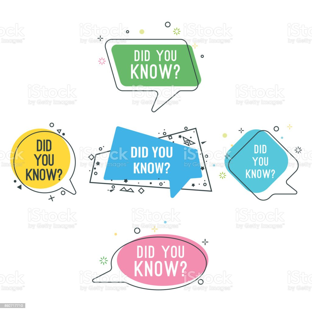 Did you know question on colorful stickers set vector art illustration