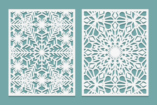 Die and laser cut decorative panels with snowflakes pattern. Laser cutting lace borders. Set of Wedding Invitation or greeting card templates. Die and laser cut decorative panels with snowflakes pattern. Laser cutting lace borders. Set of Wedding Invitation or greeting card templates. Vector illustration decorative laser cut set stock illustrations