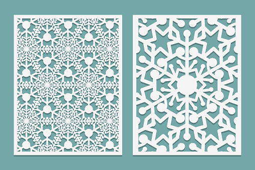 Die and laser cut intricate panels with snowflakes pattern. Laser cutting lace borders. Invitation and Greeting card templates. For laser or plotter cutting or printing serigraphy Vector illustration