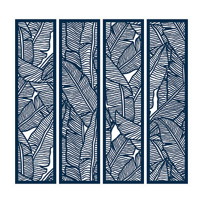 Die and laser cut ornamental panels with floral pattern of banana leaves. Laser cut decorative lace borders patterns. Set of bookmarks templates.