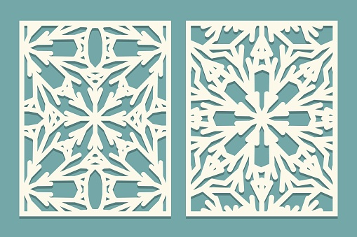 Die and laser cut ornate panels with snowflakes pattern. Laser cutting decorative lace borders patterns. Set of Wedding Invitation or greeting card templates