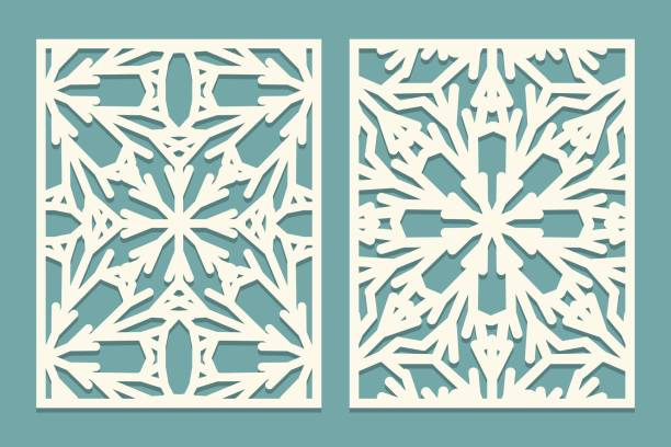Die and laser cut ornate panels with snowflakes pattern. Laser cutting decorative lace borders patterns. Set of Wedding Invitation or greeting card templates Die and laser cut ornate panels with snowflakes pattern. Laser cutting decorative lace borders patterns. Set of Wedding Invitation or greeting card templates. Vector illustration decorative laser cut set stock illustrations