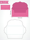Vector envelope template with swirly flap for wedding invitation.