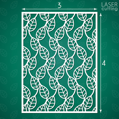 Die cut ornamental panel with pattern of leaves. May be use for laser cutting. Lazer cut card. Silhouette pattern. Cutout paperwork. Cabinet fretwork screen. Lasercut metal panel. Wood carving.