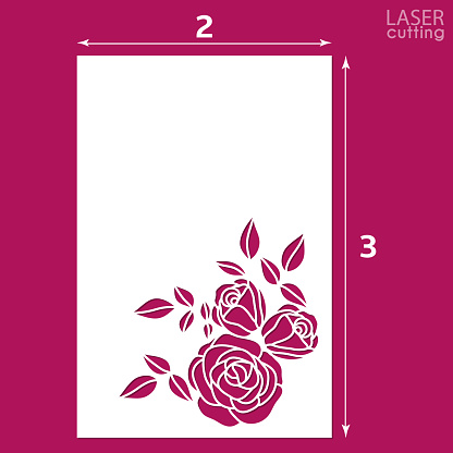 Die cut ornamental panel with pattern of roses. May be use for laser cutting. Lazer cut card. Silhouette pattern. Cutout paperwork. Cabinet fretwork panel. Lasercut metal panel. Wood carving.