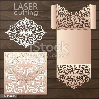 Die laser cut wedding card vector template. Invitation envelope. Wedding lace invitation mockup. Template for laser cutting. Die cut pocket envelope template.