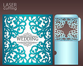 Die laser cut wedding card vector template. Invitation envelope with lace frame. Wedding lace invitation mockup. Template for cutting. Die cut pocket envelope template.