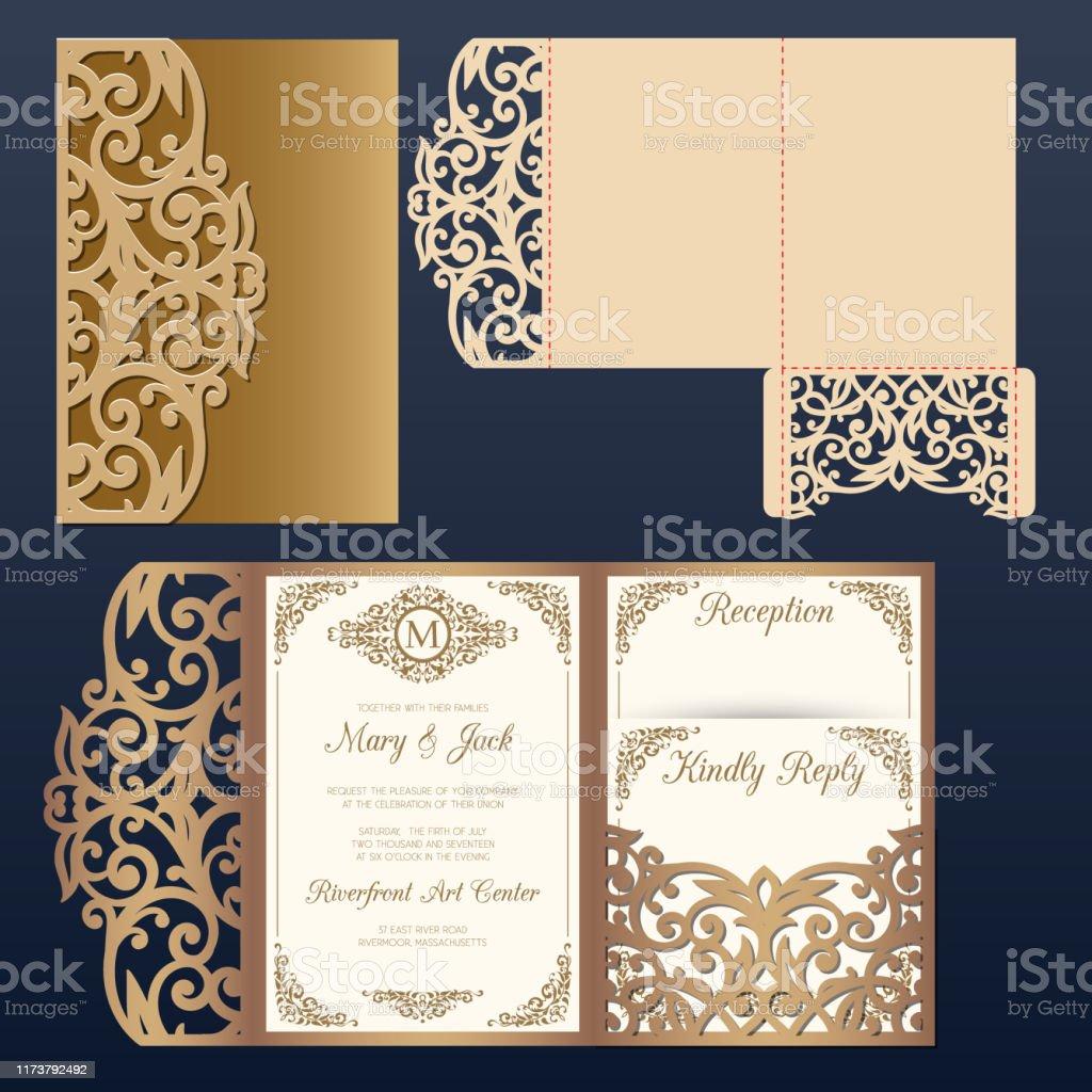 Die Laser Cut Wedding Card Vector Template Tri Fold Pocket