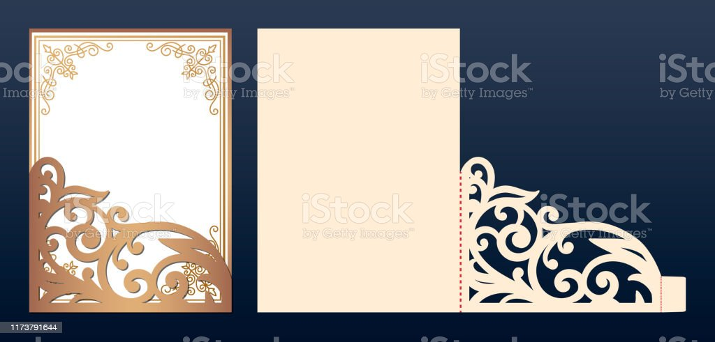 Die Laser Cut Wedding Invitation Card Template Vector Wedding Invitation Or Greeting Envelope With Abstract Ornament Open Card Suitable For Greeting