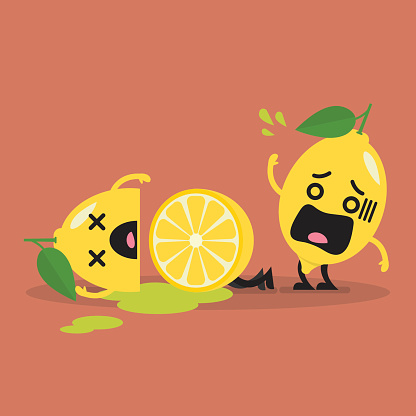 Died cut lemon with shocked lemon