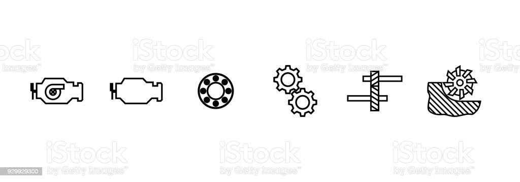 Ilustración de Motor Diesel Rodamientos Fresado Engranaje Engranaje ...