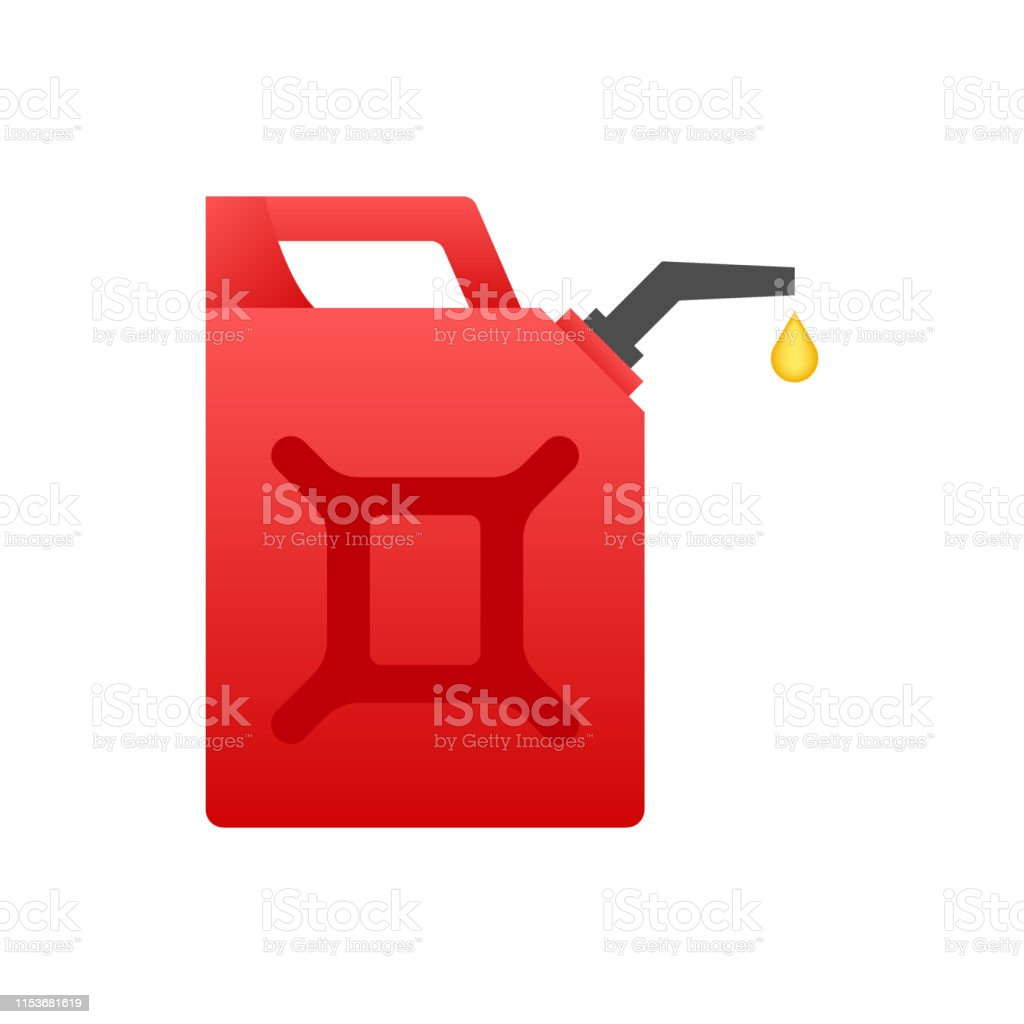 Diesel Fuel Red Canister Isolated On White Background Vector