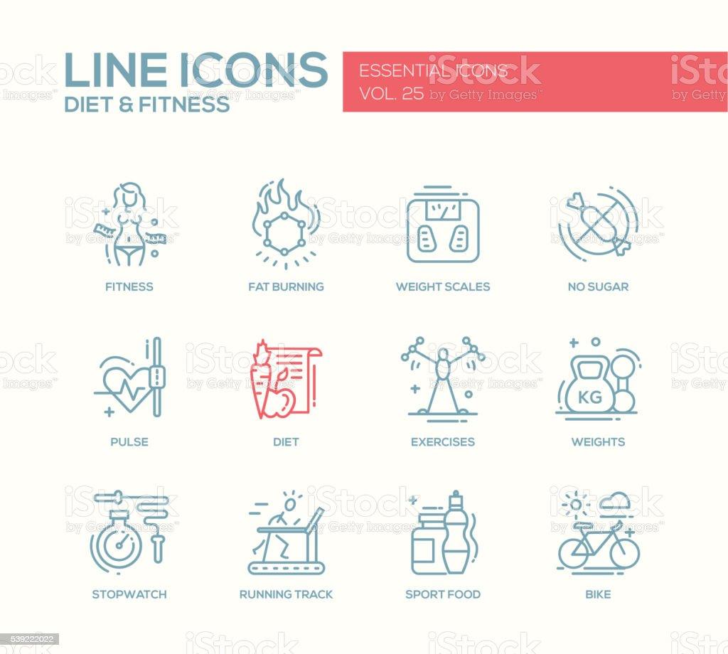 Diet and fitness - line design icons set vector art illustration