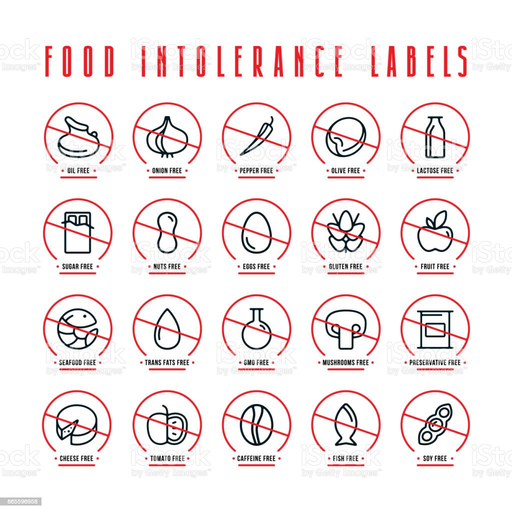 Diet and food intolerance labels vector art illustration