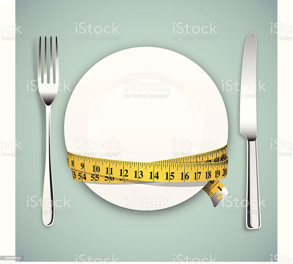 Diet concept, empty plate, tape measure with knife and fork vector art illustration