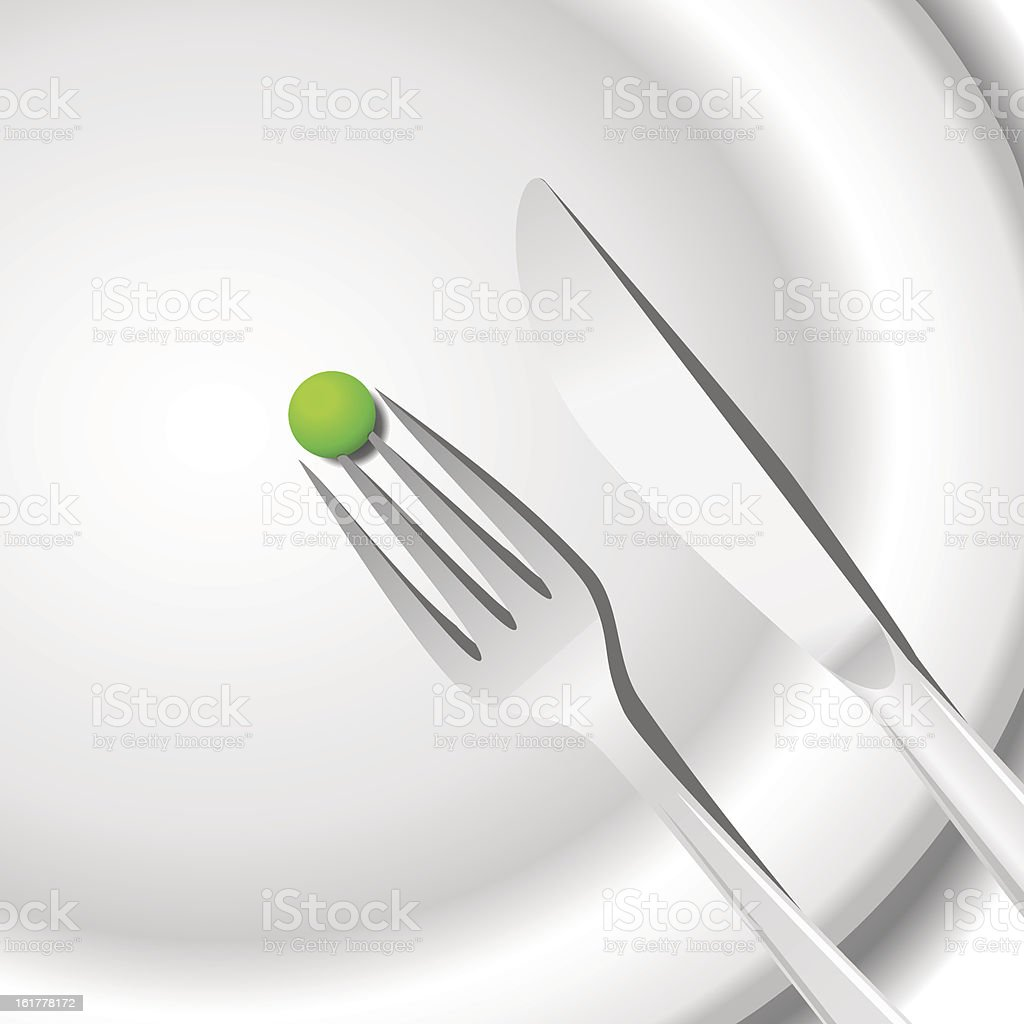 Diet concept. Peas on a plate royalty-free stock vector art