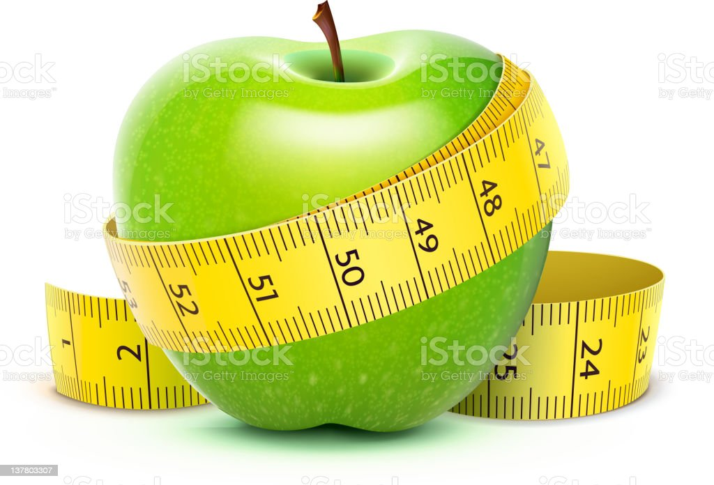 Diet concept with green apple and measuring tape vector art illustration