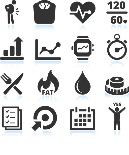 Diet exercise and healthy Lifestyle vector icon set Diet exercise and healthy Lifestyle black and white royalty free vector icon set. This editable vector file features black icons on white background. The icons are organized in rows and can be used as app icons, online as internet web buttons, and in digital and print. adipose cell stock illustrations