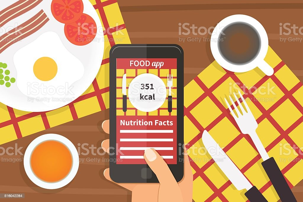 Diet food application. Calorie counter vector art illustration