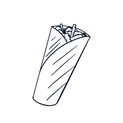 Diet food Buritto Shawarma. Doodle style. Illustration isolated on a white background. Suitable for menus, flyers, banners, and restaurants.