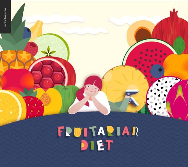illustrazioni stock, clip art, cartoni animati e icone di tendenza di diet food composition - pesche bambino