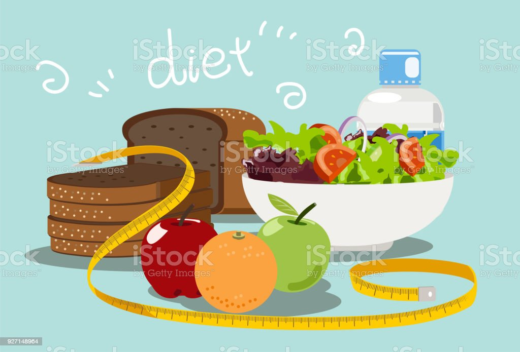 Diet food for weight loss. vector art illustration