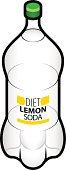 A PET bottle of diet lemon soda.