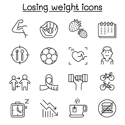 Diet, Losing weight, fitness, healthy lifestyle icon set in thin line style
