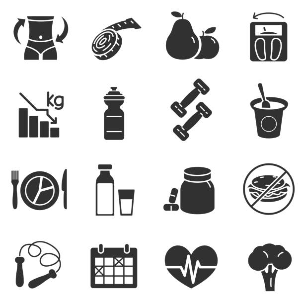 Diet, monochrome icons set Dietary compliance, fitness and health care, simple symbols collection. weight loss stock illustrations