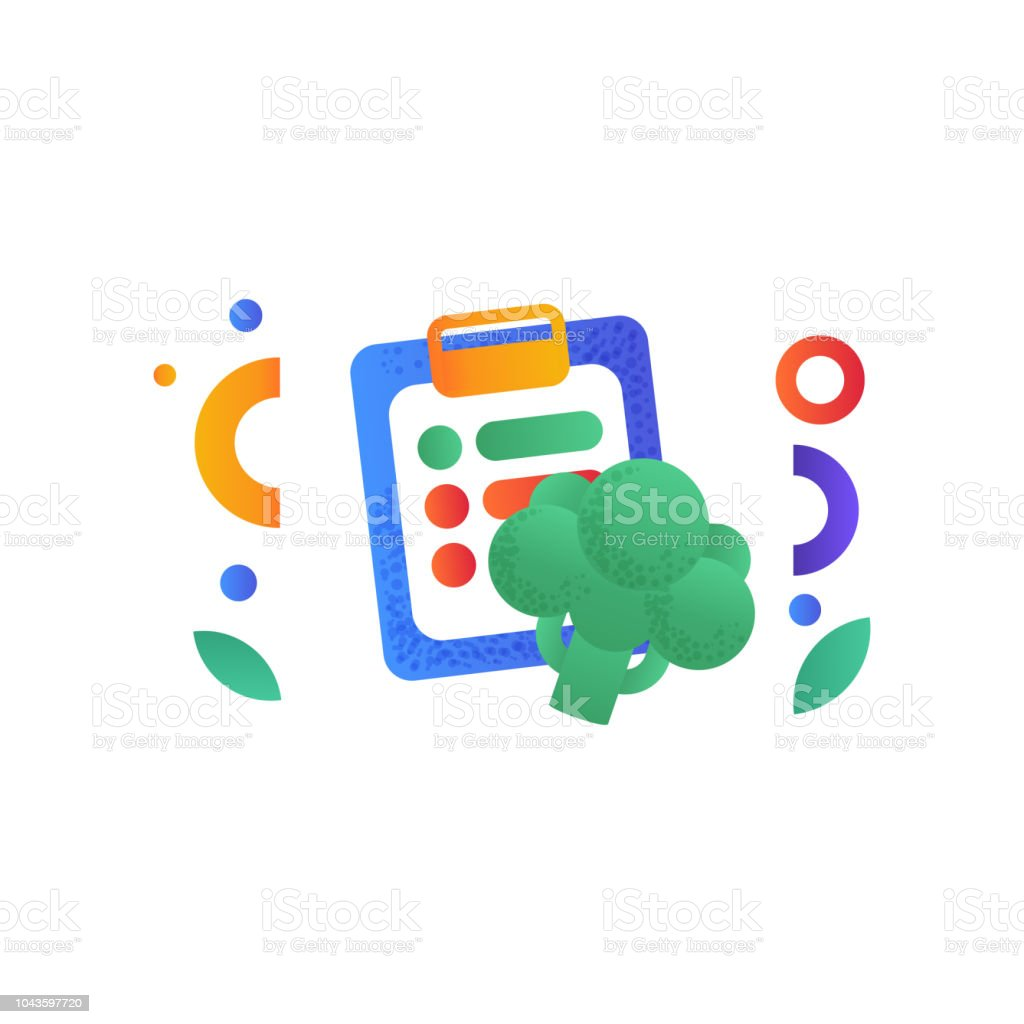 Diet plan and broccoli, healthy lifestyle, balanced diet food signs vector Illustration on a white background vector art illustration