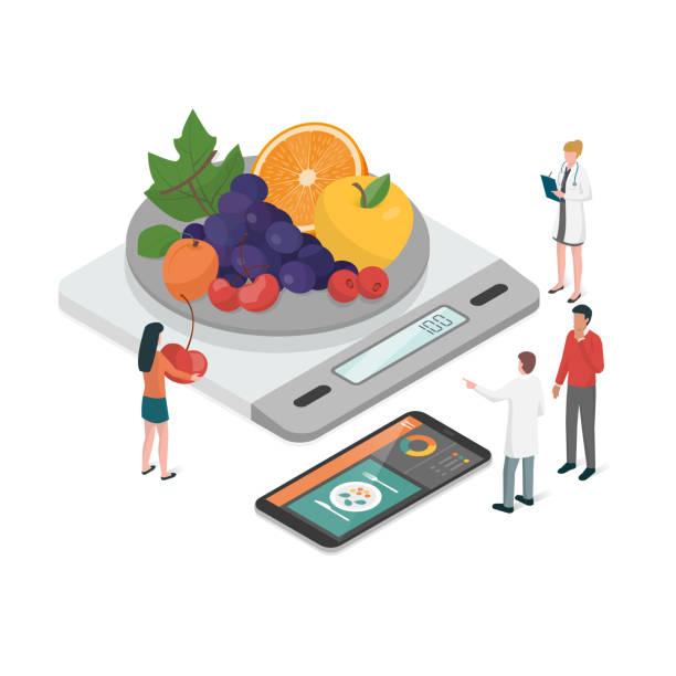 diät-plan und ernährung - portion stock-grafiken, -clipart, -cartoons und -symbole