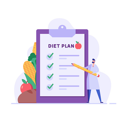 Diet plan illustration. Nutritionist doctor planning diet with fruit and vegetable. Concept of dietary eating, meal planning, nutrition consultation, healthy food. Vector illustration for web design