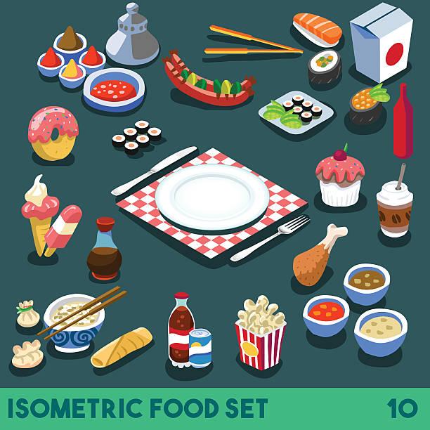 stockillustraties, clipart, cartoons en iconen met diet set 10 food isometric - chicken bird in box