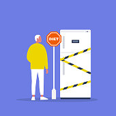 Diet. Young male character standing in front of the fridge. Stop sign and black and yellow tape. Concept. Flat editable vector illustration, clip art. Lifestyle. Healthy eating.