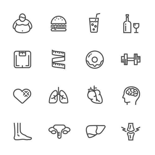 diätetische ursachen, auswirkungen auf die gesundheit von fettleibigkeit. vektor-linie-icons - stoffwechsel stock-grafiken, -clipart, -cartoons und -symbole
