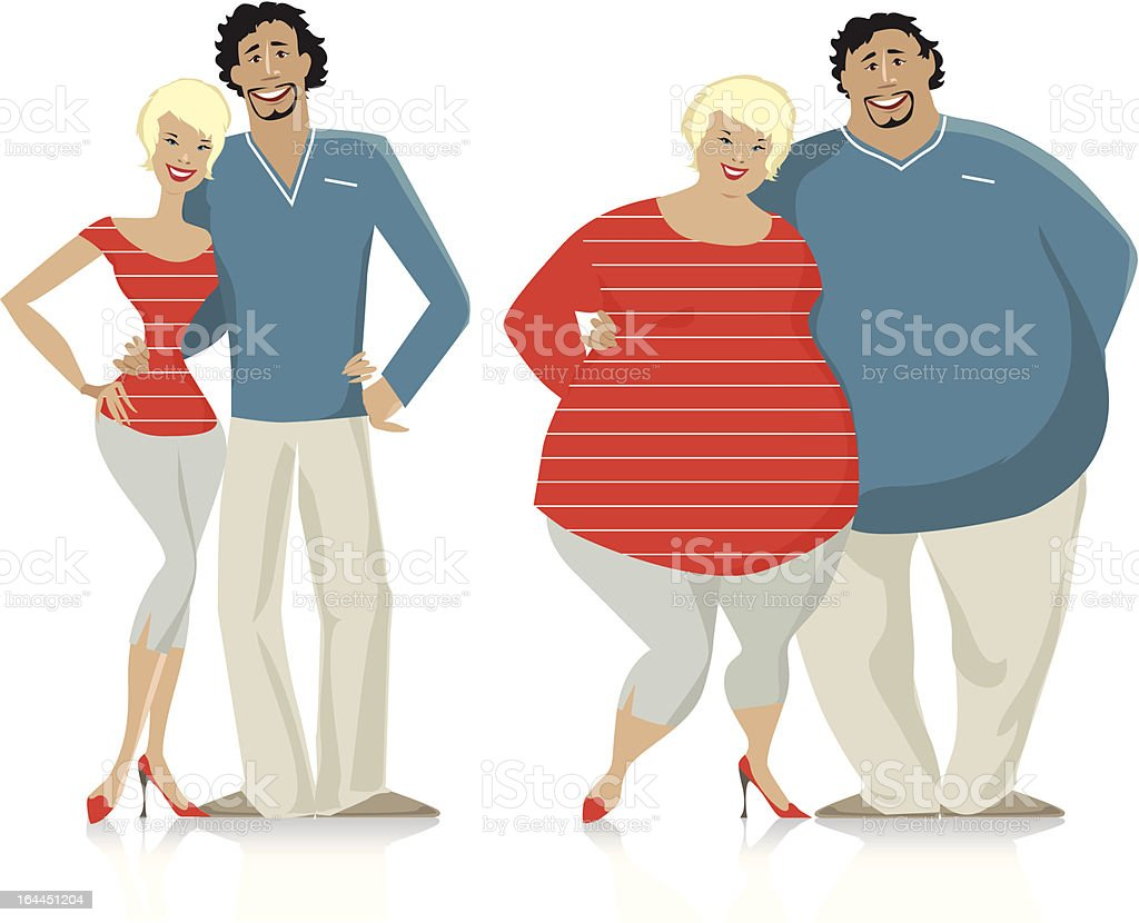 Dieting couple vector art illustration