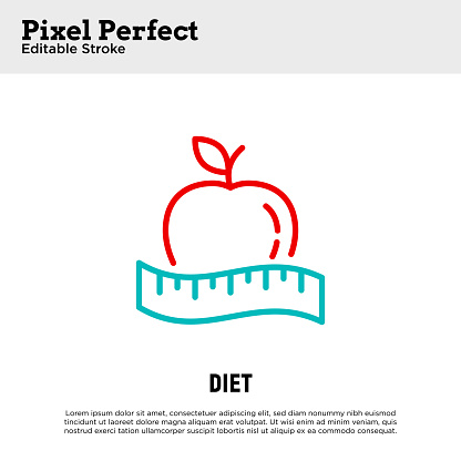 Dieting thin line icon. Tape measure around apple. Healthy nutrition. Calorie measuring. Pixel perfect, editable stroke. Vector illustration.
