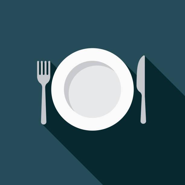 ilustraciones, imágenes clip art, dibujos animados e iconos de stock de icono de diseño plano de pérdida de peso dieta - plate
