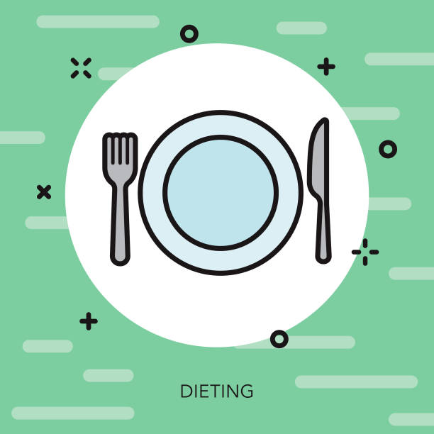 Dieting Weight Loss Thin Line Icon vector art illustration