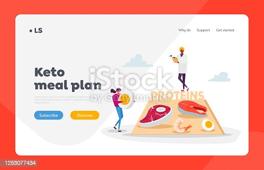 Dietology Science, Healthy Nutrition Landing Page Template. Character Bring Protein Products for Keto Diet. Male Doctor Nutritionist Holding Clipboard Writing Notes. Cartoon People Vector Illustration