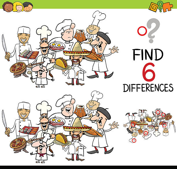 difference game with cooks vector art illustration