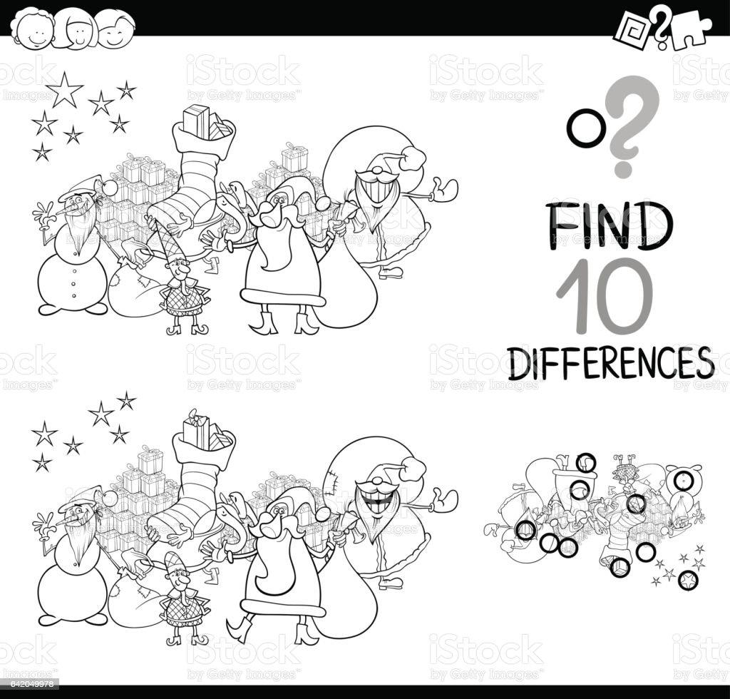 Noel Baba Fark Oyunu Boyama Stok Vektor Sanati 10 Sayisi Nin