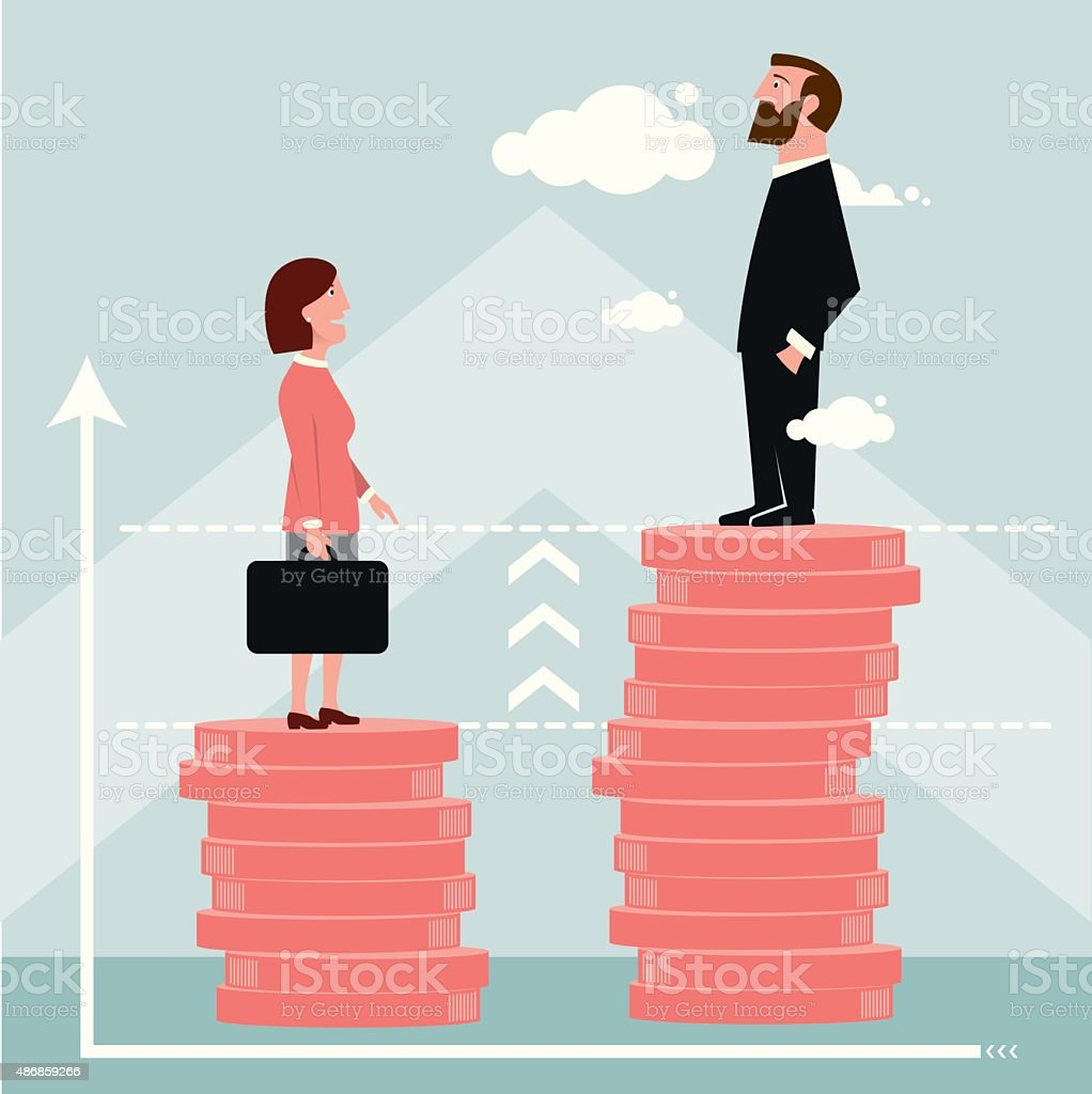 Difference in salary graph vector art illustration