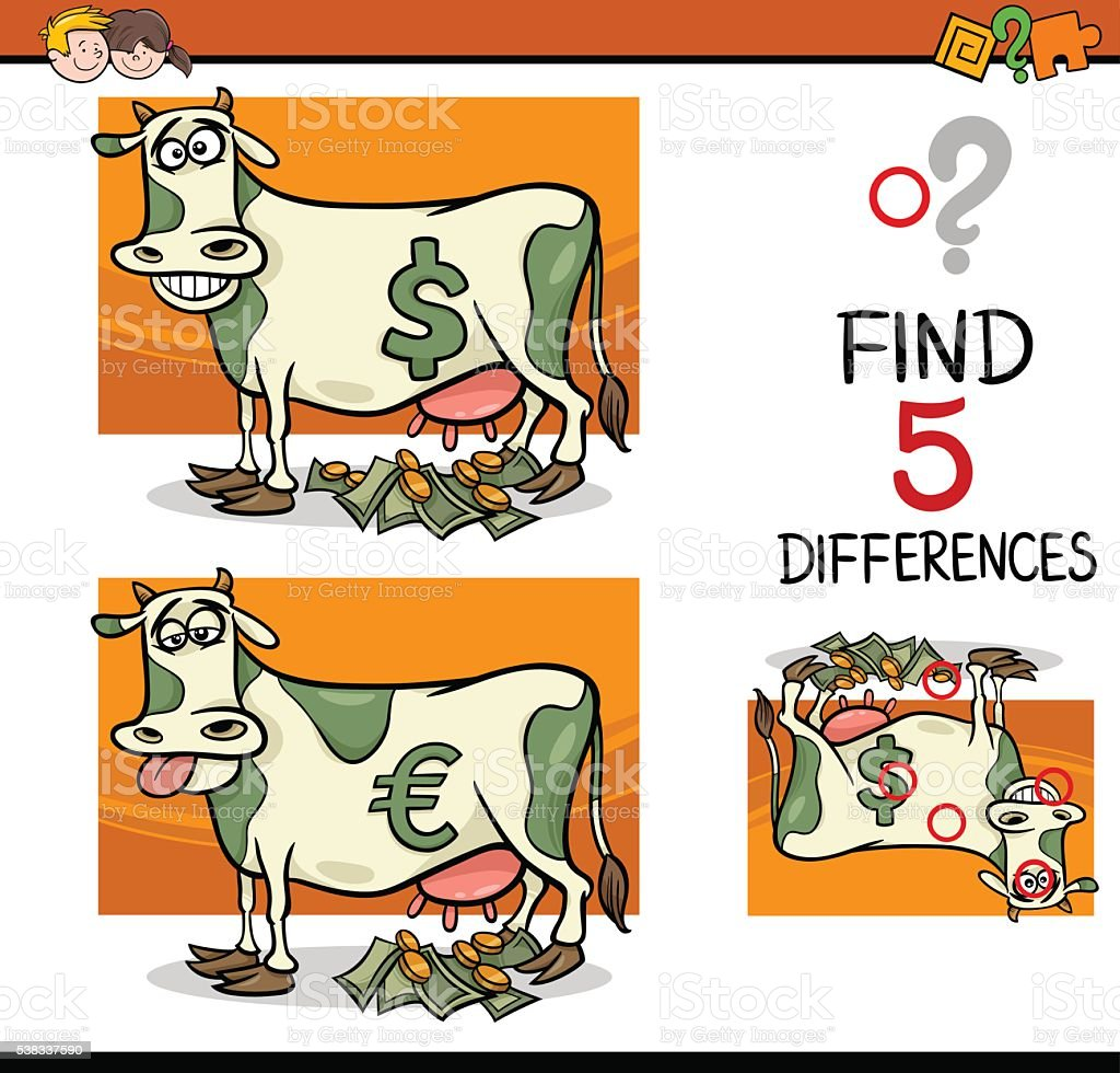 differences activity for children vector art illustration